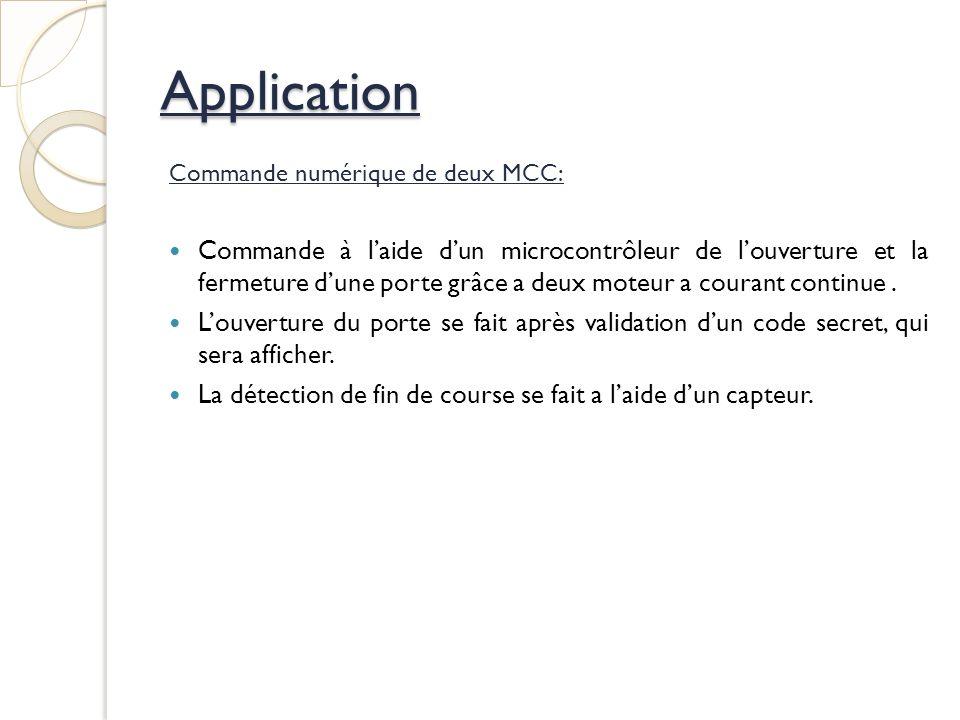 Application Commande numérique de deux MCC: