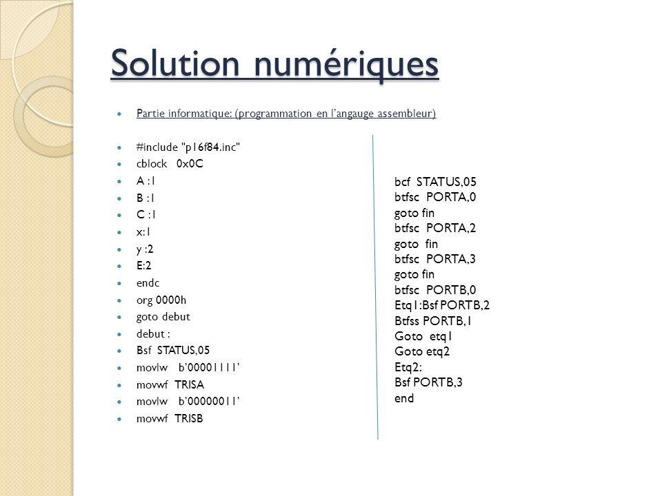 Solution numériques bcf STATUS,05 btfsc PORTA,0 goto fin btfsc PORTA,2