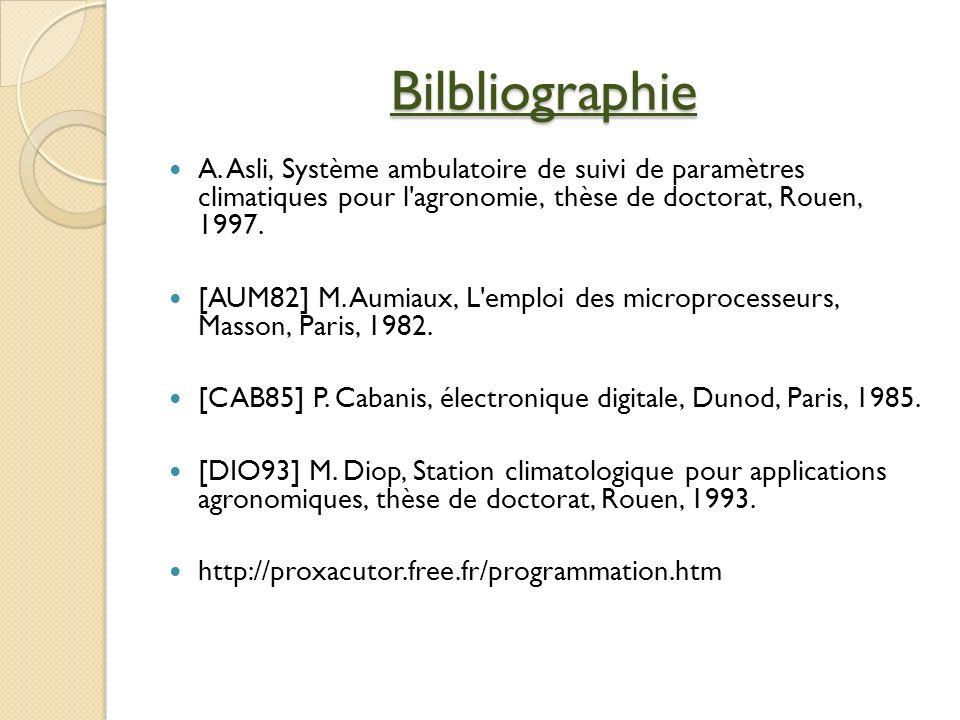 Bilbliographie A. Asli, Système ambulatoire de suivi de paramètres climatiques pour l agronomie, thèse de doctorat, Rouen, 1997.