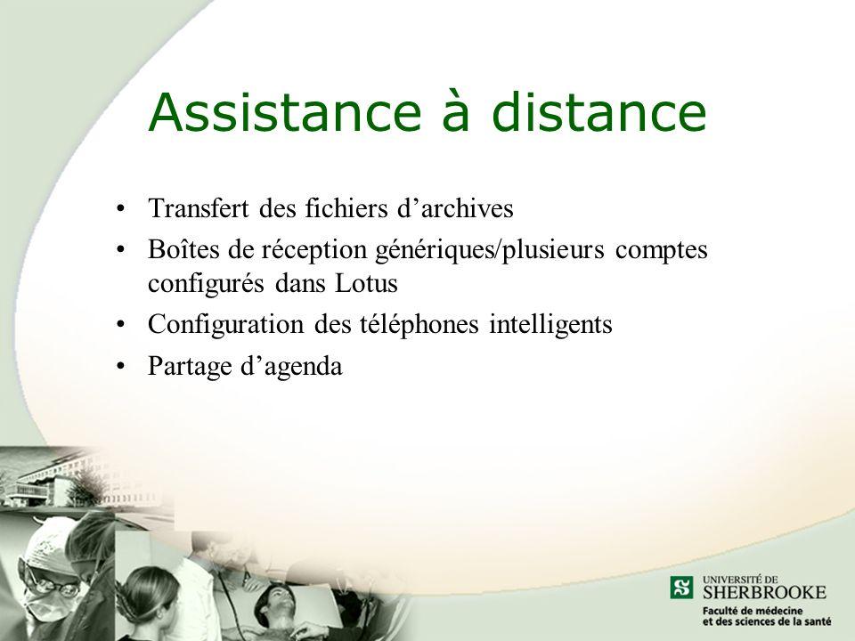 Assistance à distance Transfert des fichiers d'archives
