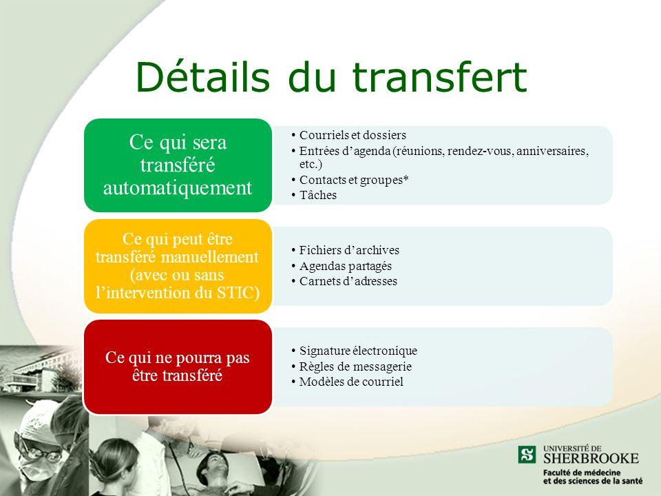 Détails du transfert Ce qui sera transféré automatiquement