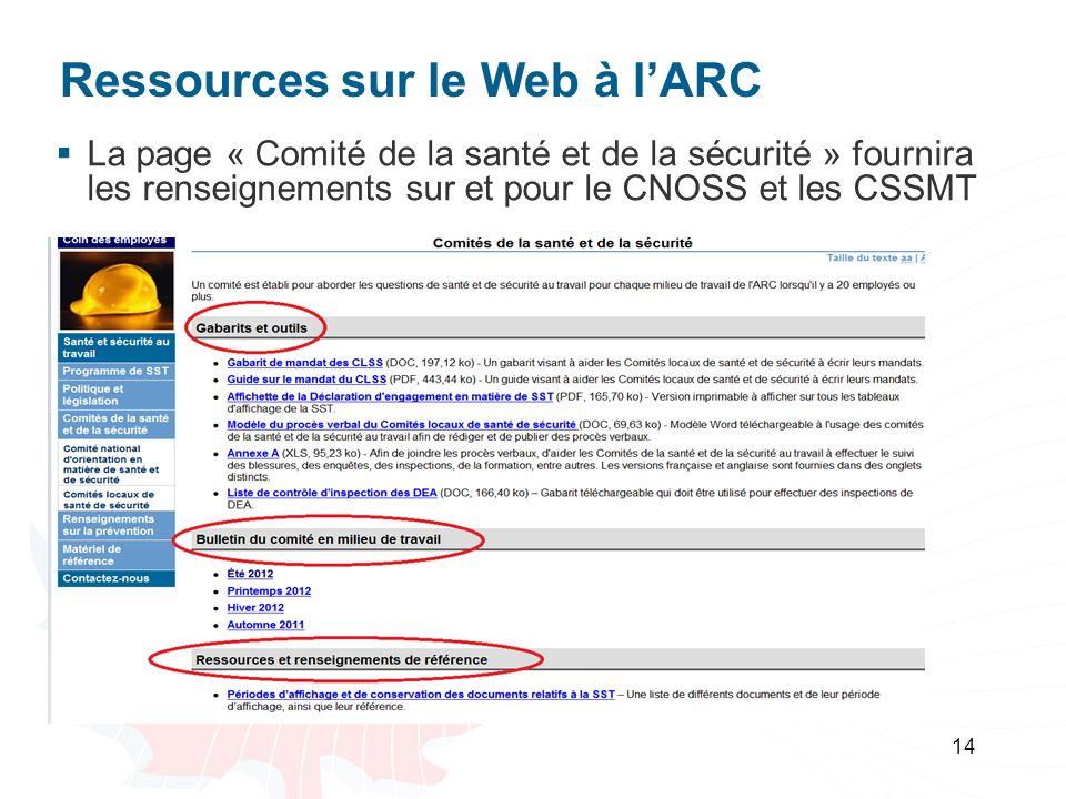 Ressources sur le Web à l'ARC