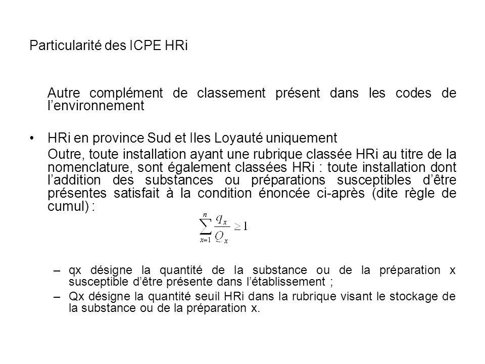 Particularité des ICPE HRi