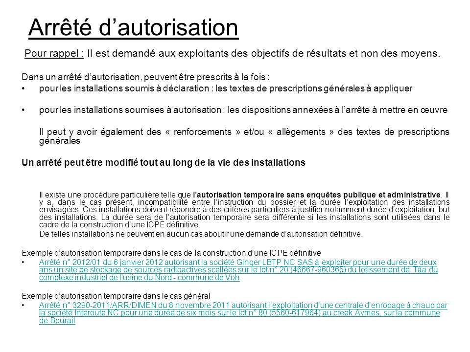 Installations class es pour la protection de l for Autorisation de construction