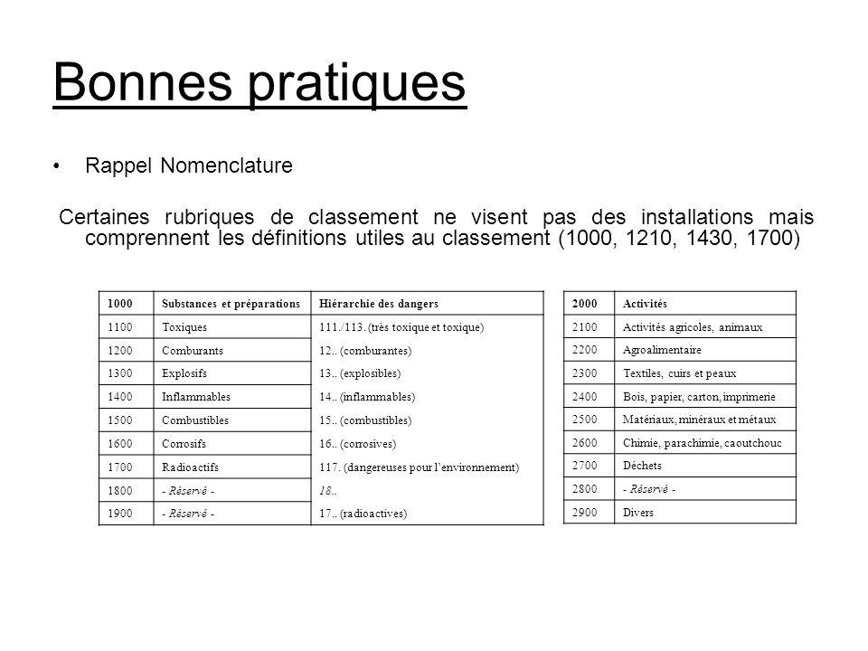 Bonnes pratiques Rappel Nomenclature
