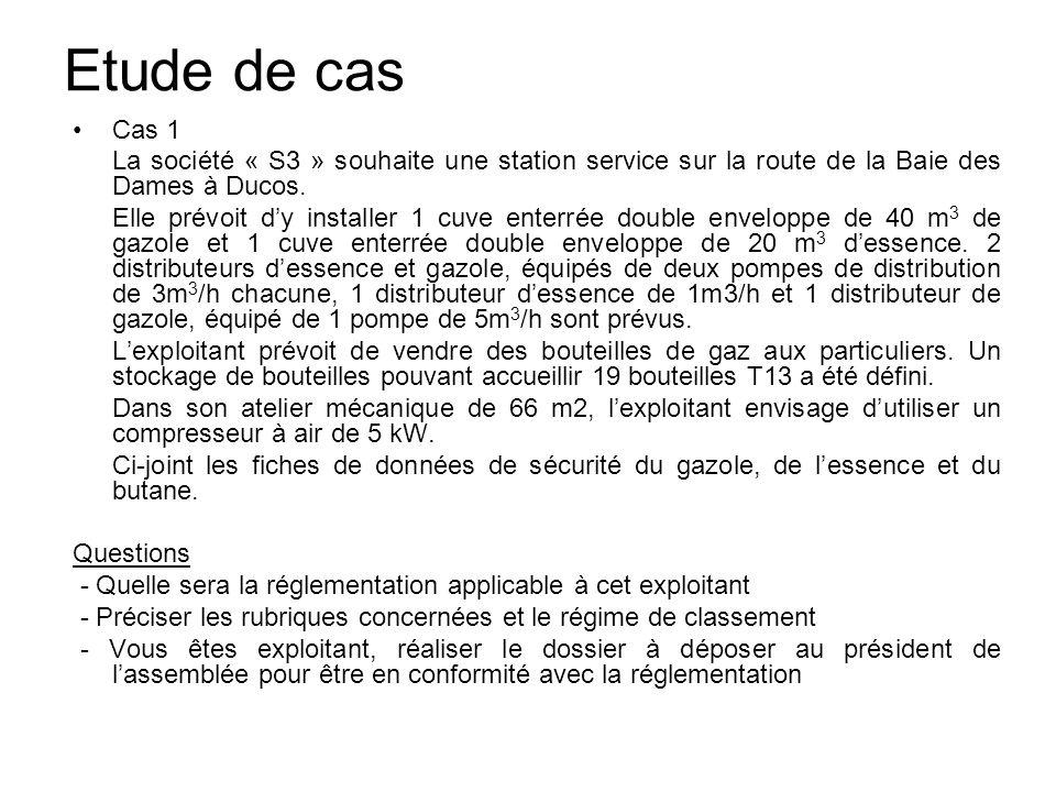 Etude de cas Cas 1. La société « S3 » souhaite une station service sur la route de la Baie des Dames à Ducos.