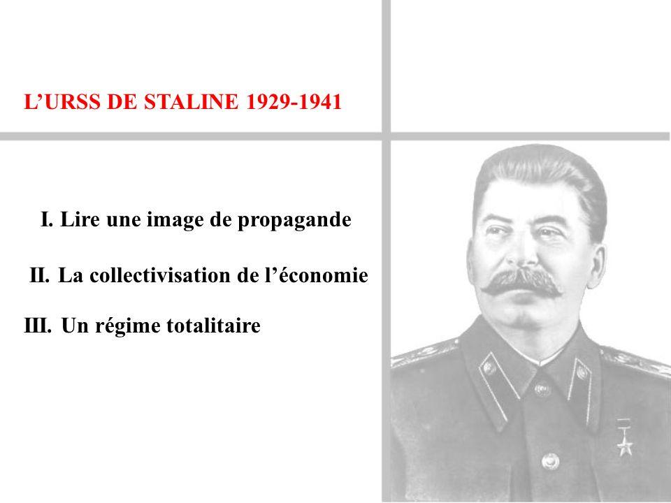 L'URSS DE STALINE 1929-1941 I. Lire une image de propagande. II. La collectivisation de l'économie.