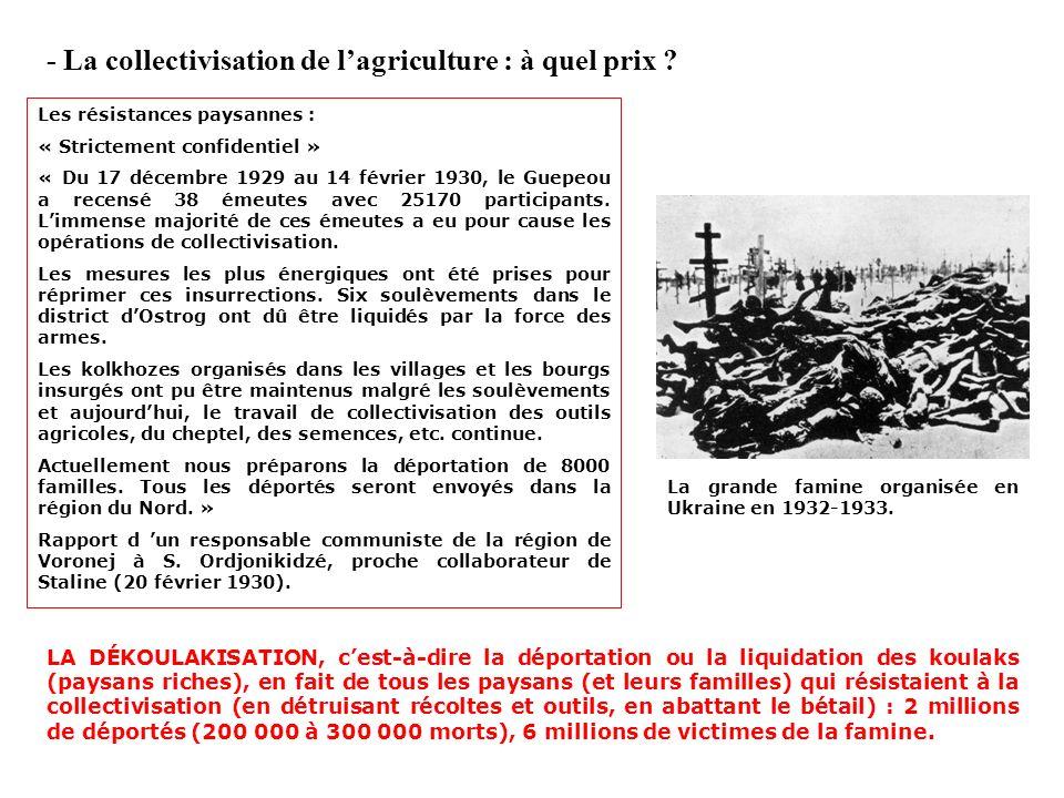 - La collectivisation de l'agriculture : à quel prix