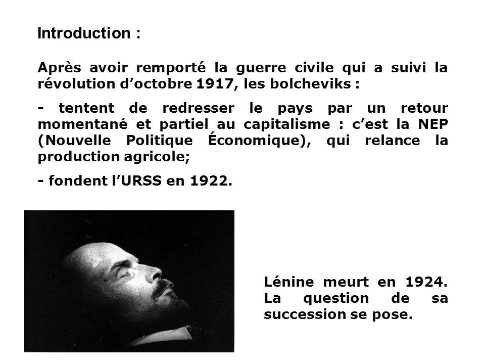 Introduction : Après avoir remporté la guerre civile qui a suivi la révolution d'octobre 1917, les bolcheviks :