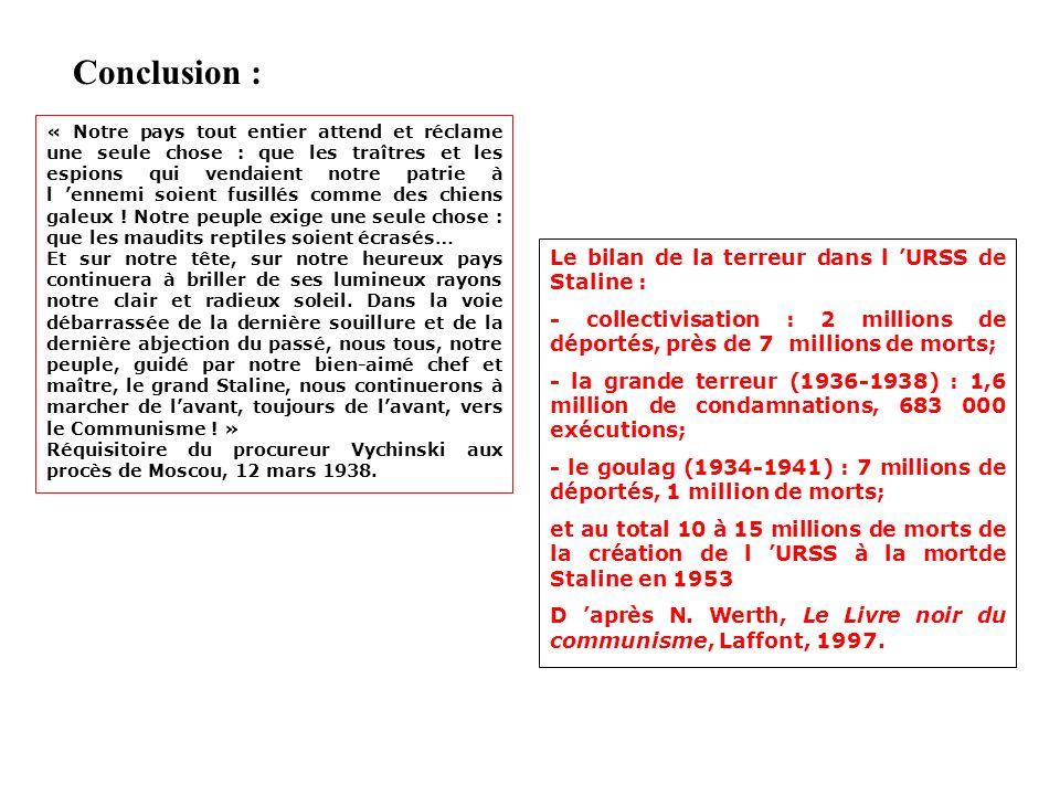 Conclusion : Le bilan de la terreur dans l 'URSS de Staline :