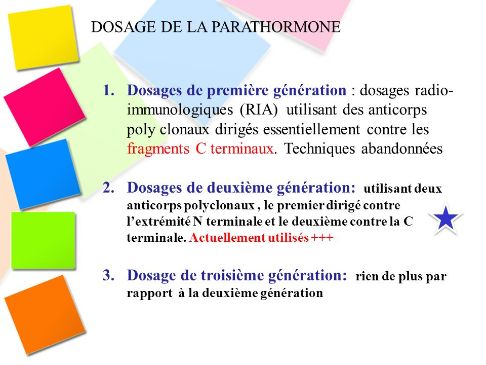 DOSAGE DE LA PARATHORMONE