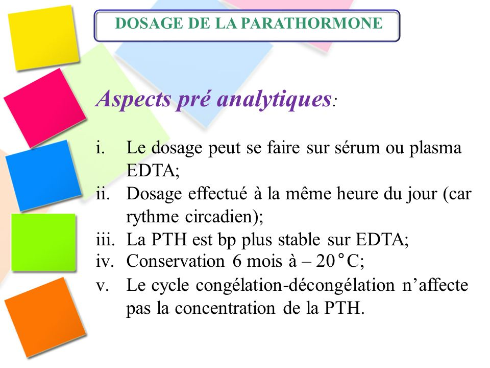 Aspects pré analytiques: