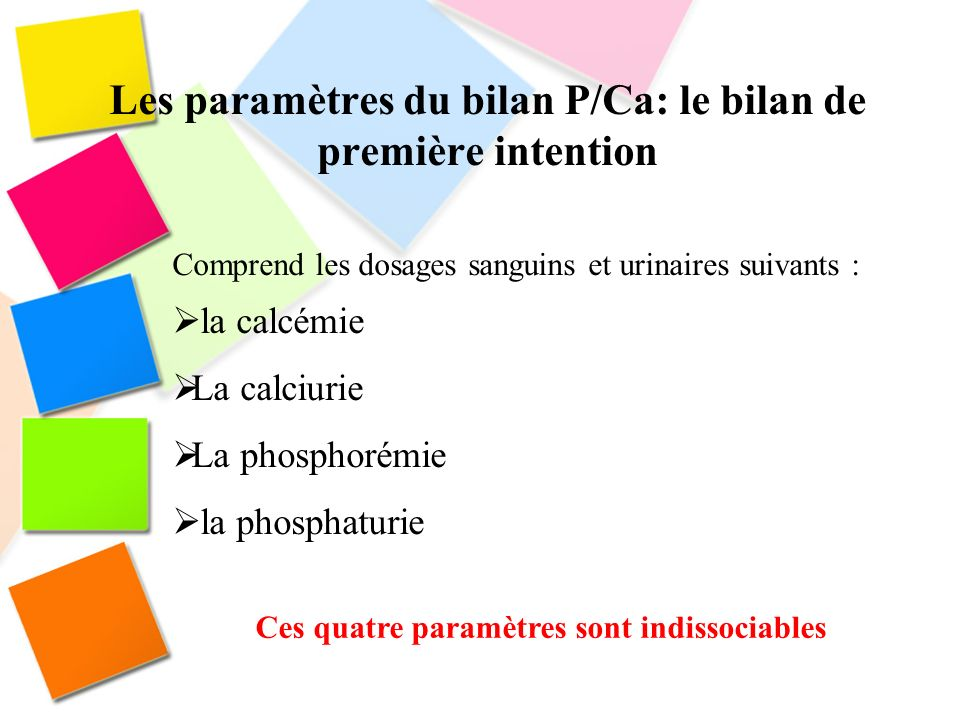 Les paramètres du bilan P/Ca: le bilan de première intention
