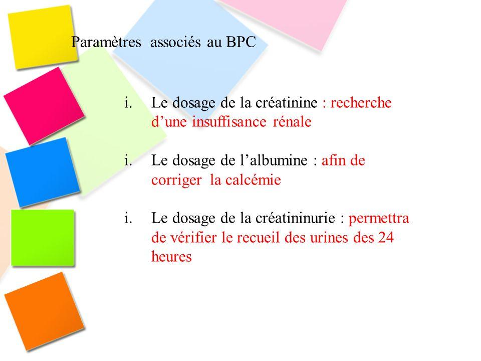 Paramètres associés au BPC