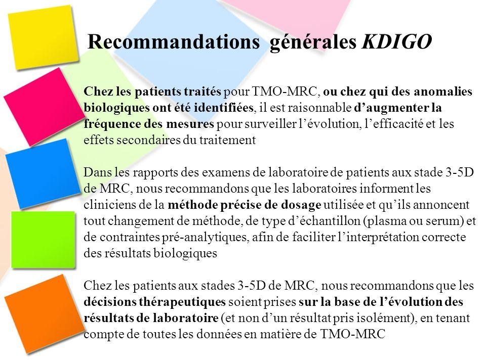 Recommandations générales KDIGO