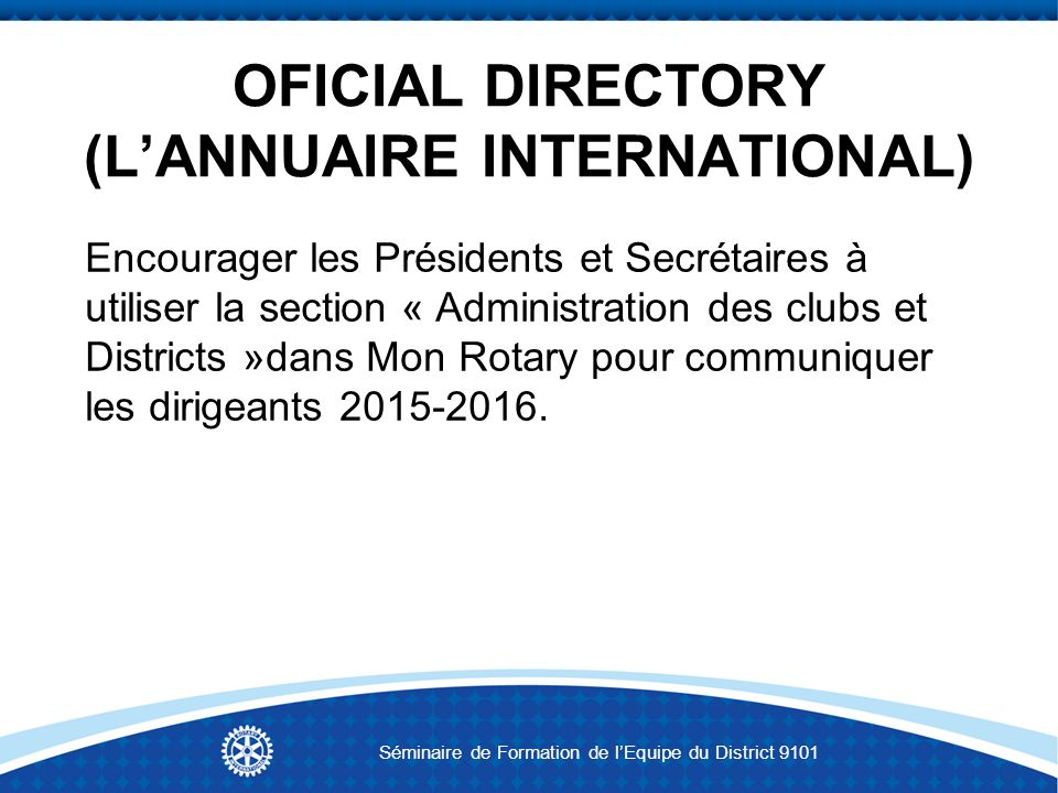 OFICIAL DIRECTORY (L'ANNUAIRE INTERNATIONAL)