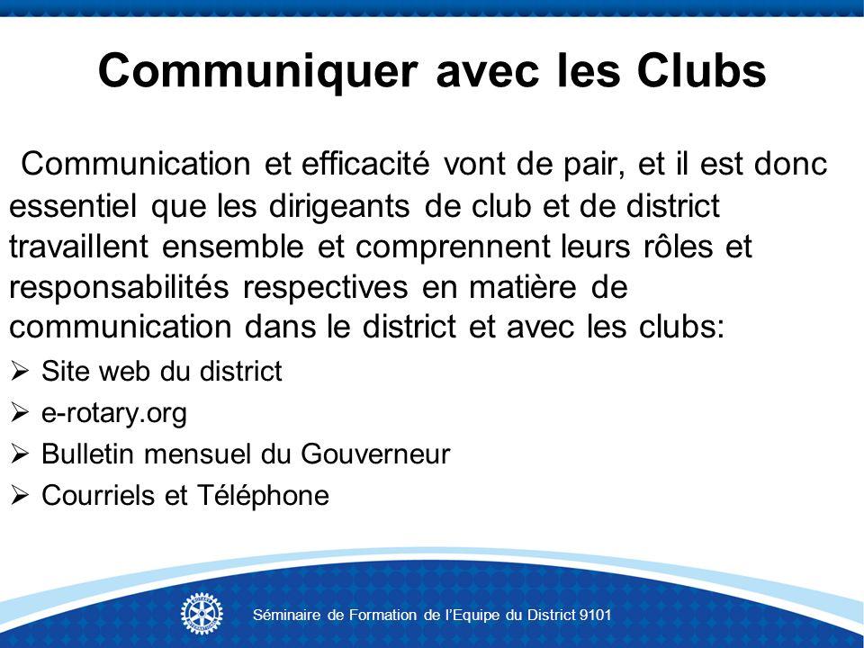 Communiquer avec les Clubs