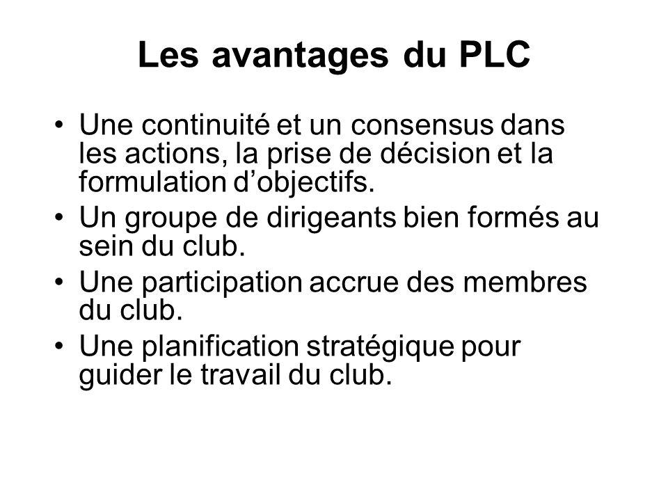Les avantages du PLC Une continuité et un consensus dans les actions, la prise de décision et la formulation d'objectifs.