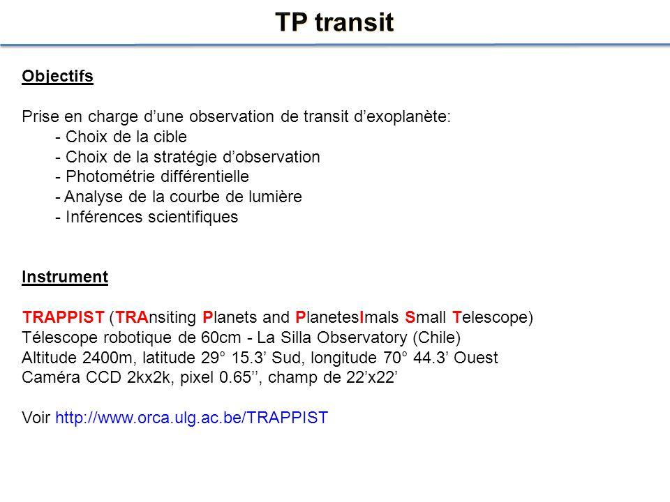 TP transit Objectifs. Prise en charge d'une observation de transit d'exoplanète: - Choix de la cible.