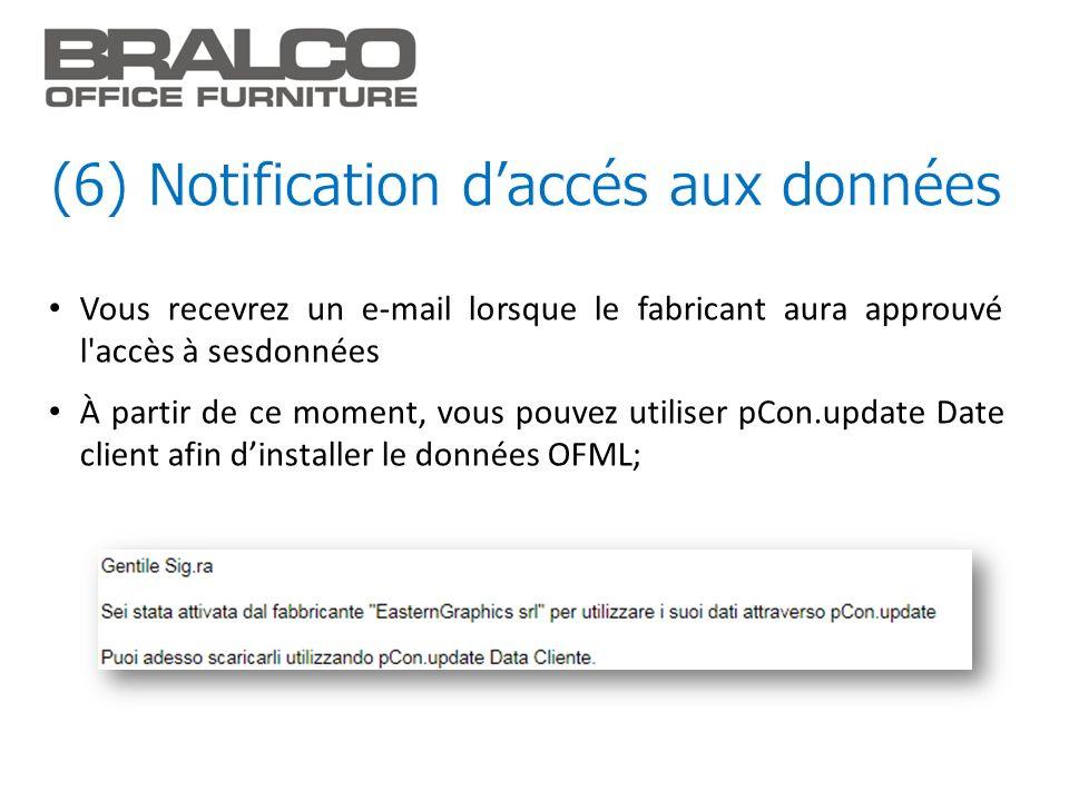 (6) Notification d'accés aux données