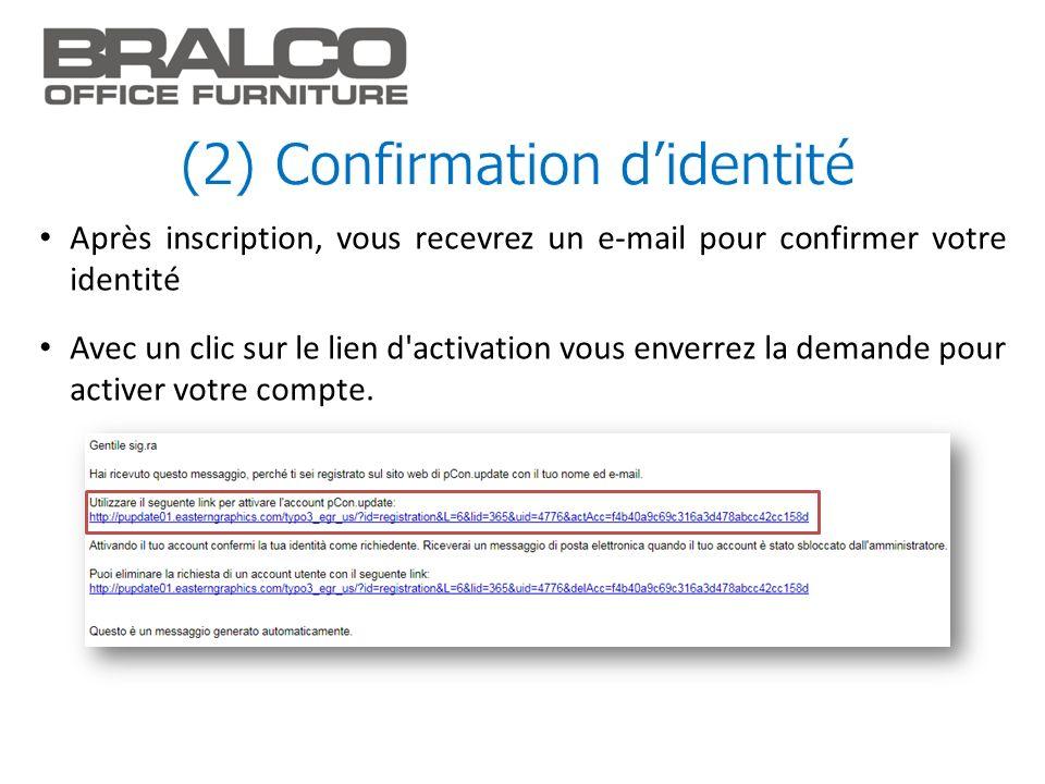 (2) Confirmation d'identité