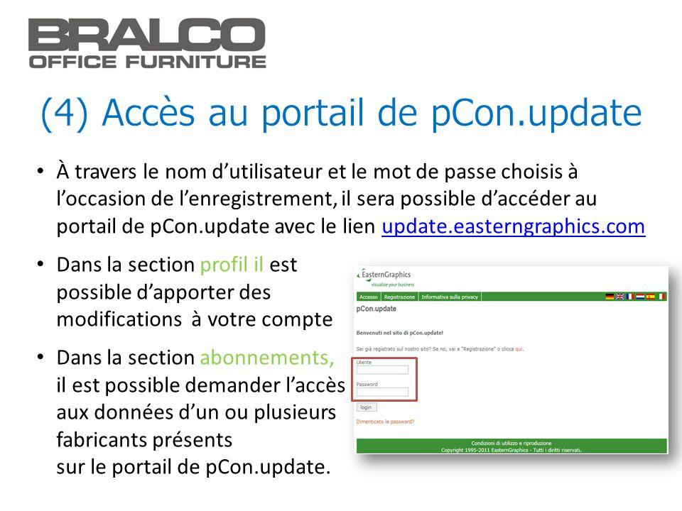 (4) Accès au portail de pCon.update
