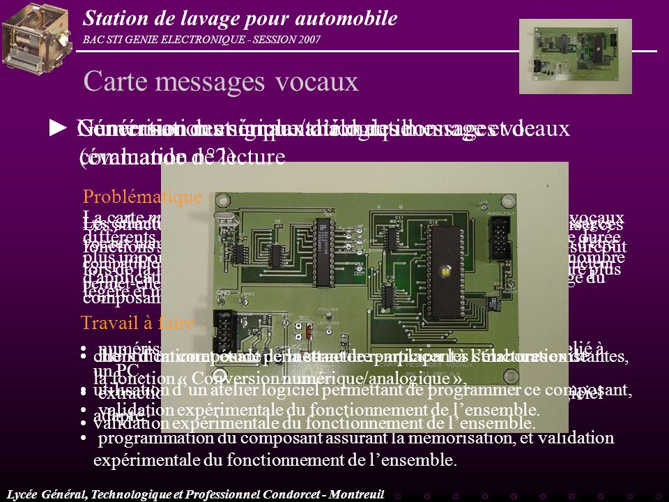 Carte messages vocaux ► Conversion numérique/analogique