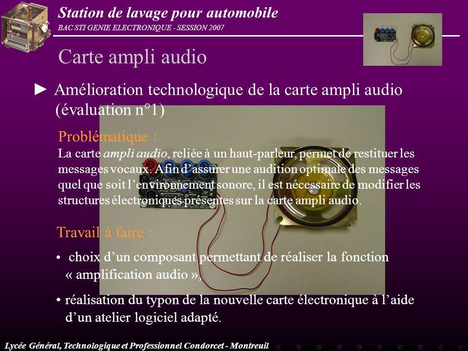 Carte ampli audio ► Amélioration technologique de la carte ampli audio (évaluation n°1) Problématique :