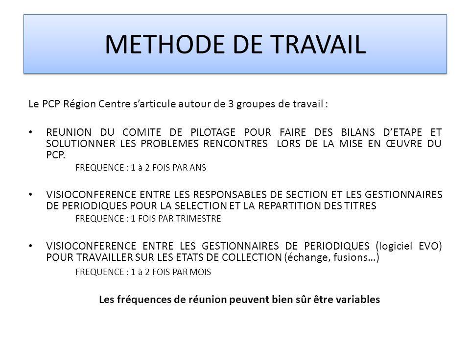 METHODE DE TRAVAIL Le PCP Région Centre s'articule autour de 3 groupes de travail :