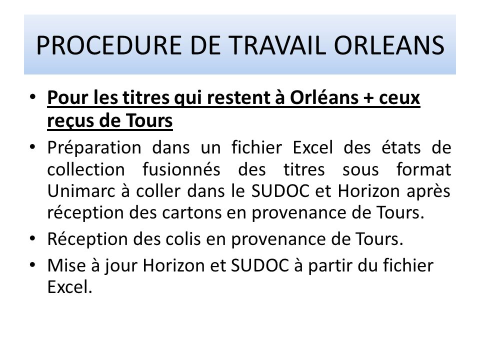 PROCEDURE DE TRAVAIL ORLEANS