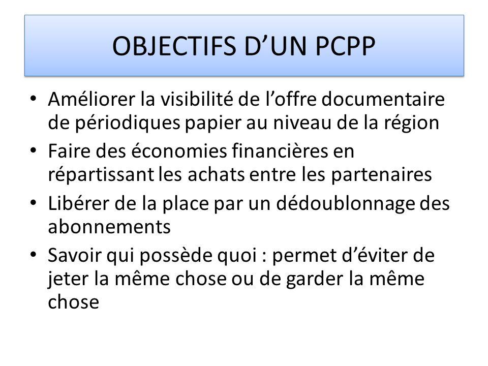 OBJECTIFS D'UN PCPP Améliorer la visibilité de l'offre documentaire de périodiques papier au niveau de la région.