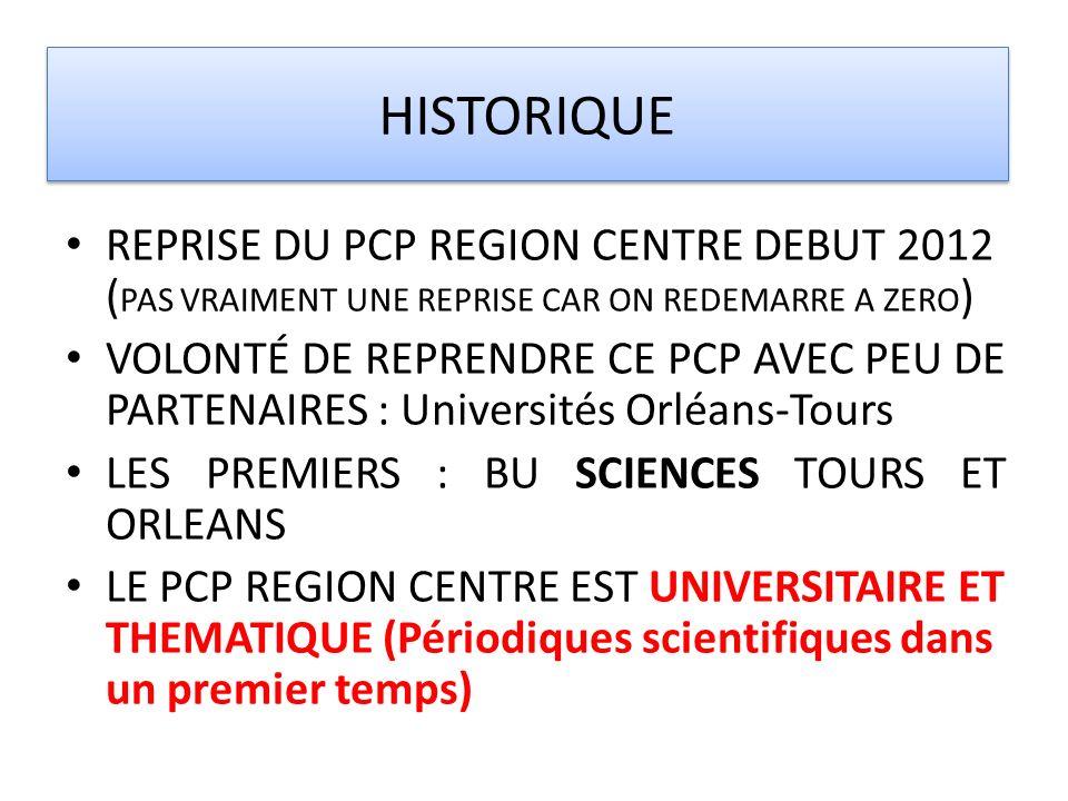 HISTORIQUE REPRISE DU PCP REGION CENTRE DEBUT 2012 (PAS VRAIMENT UNE REPRISE CAR ON REDEMARRE A ZERO)