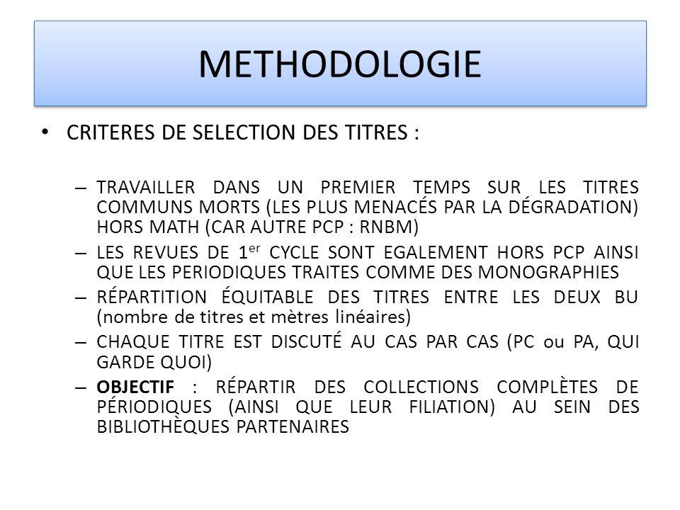 METHODOLOGIE CRITERES DE SELECTION DES TITRES :