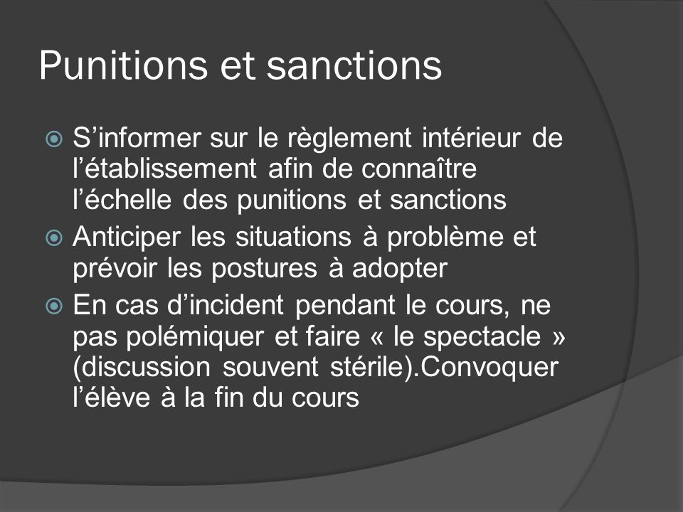 Punitions et sanctions