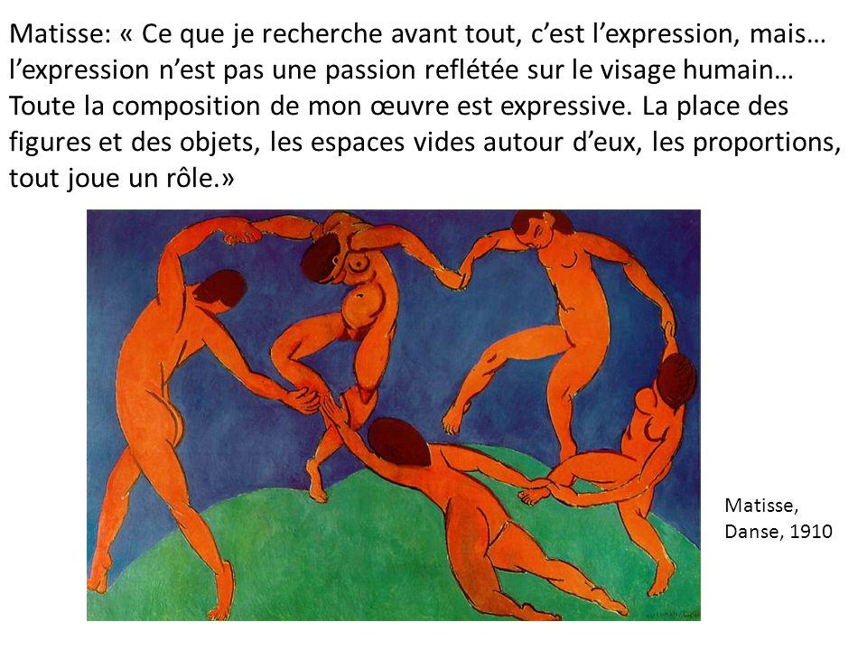 Matisse: « Ce que je recherche avant tout, c'est l'expression, mais… l'expression n'est pas une passion reflétée sur le visage humain… Toute la composition de mon œuvre est expressive. La place des figures et des objets, les espaces vides autour d'eux, les proportions, tout joue un rôle.»