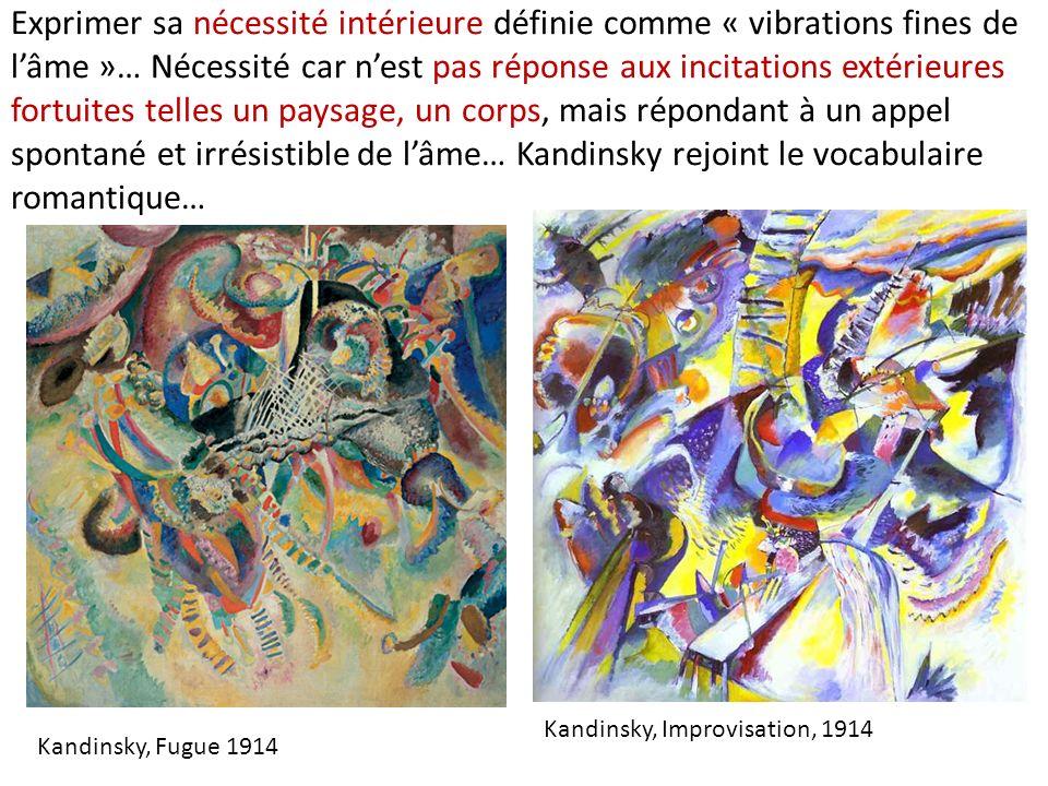 Exprimer sa nécessité intérieure définie comme « vibrations fines de l'âme »… Nécessité car n'est pas réponse aux incitations extérieures fortuites telles un paysage, un corps, mais répondant à un appel spontané et irrésistible de l'âme… Kandinsky rejoint le vocabulaire romantique…