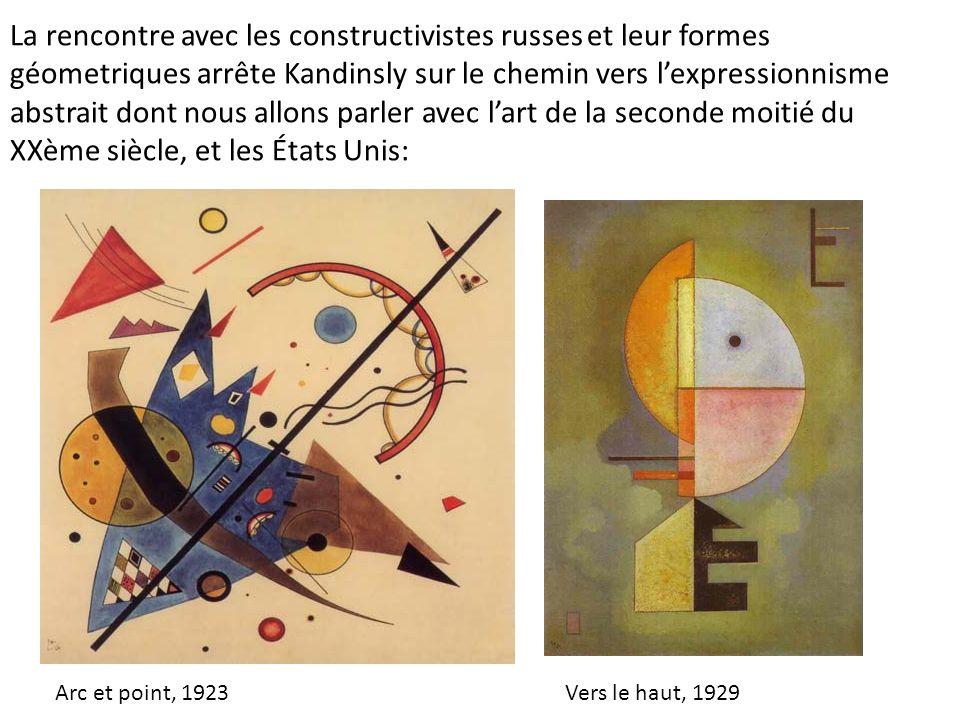 La rencontre avec les constructivistes russes et leur formes géometriques arrête Kandinsly sur le chemin vers l'expressionnisme abstrait dont nous allons parler avec l'art de la seconde moitié du XXème siècle, et les États Unis: