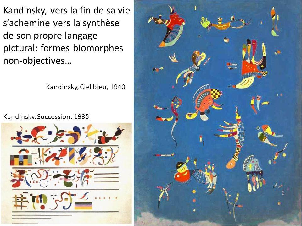 Kandinsky, vers la fin de sa vie s'achemine vers la synthèse de son propre langage pictural: formes biomorphes non-objectives…