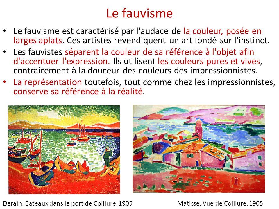 Le fauvisme Le fauvisme est caractérisé par l audace de la couleur, posée en larges aplats. Ces artistes revendiquent un art fondé sur l instinct.