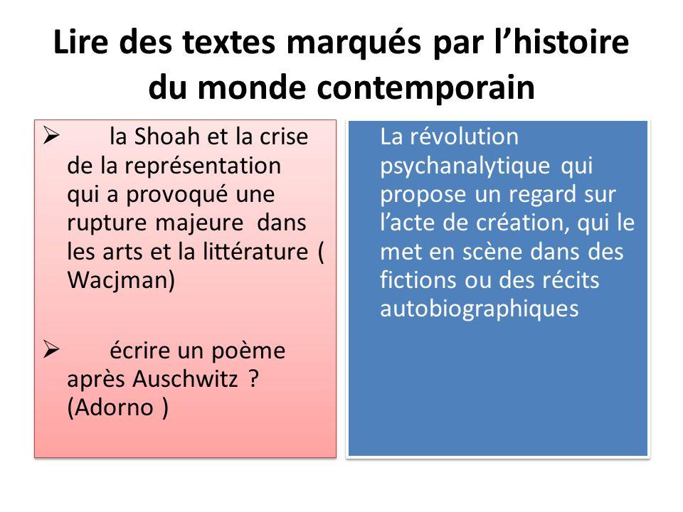 Lire des textes marqués par l'histoire du monde contemporain