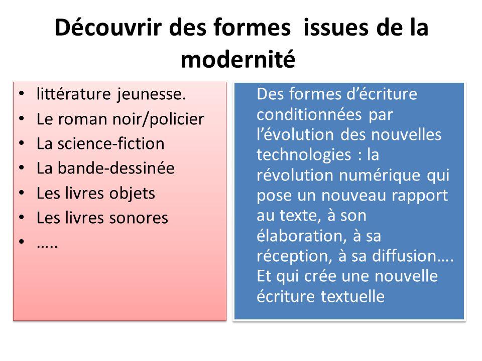 Découvrir des formes issues de la modernité