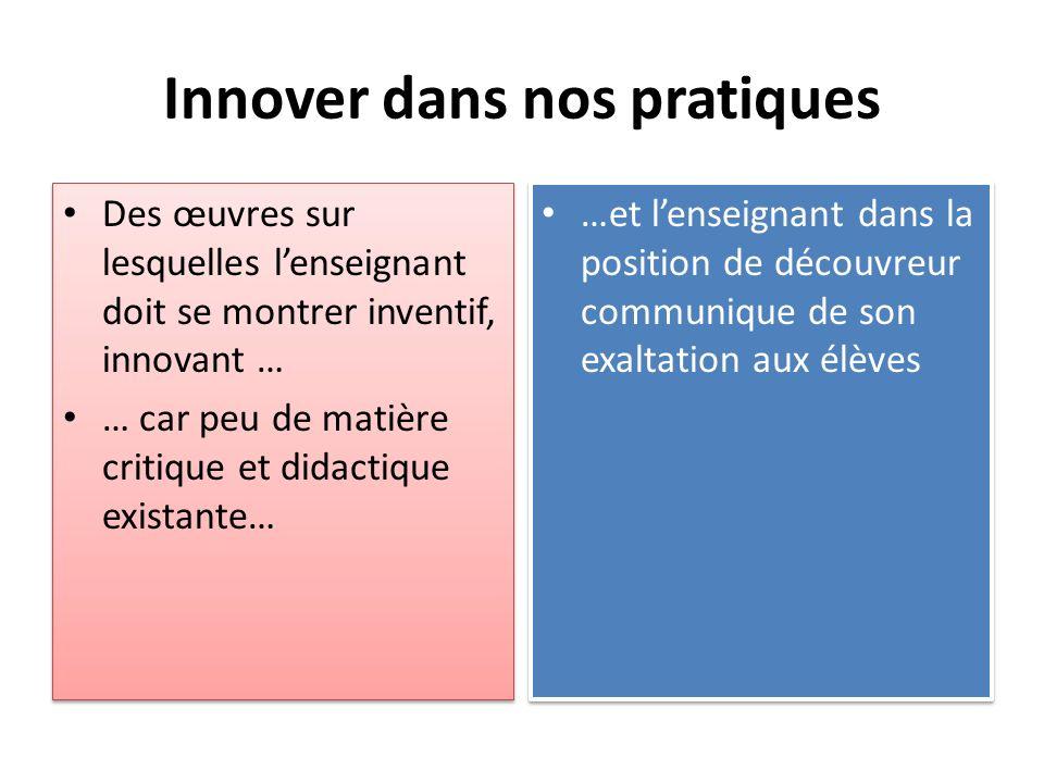 Innover dans nos pratiques