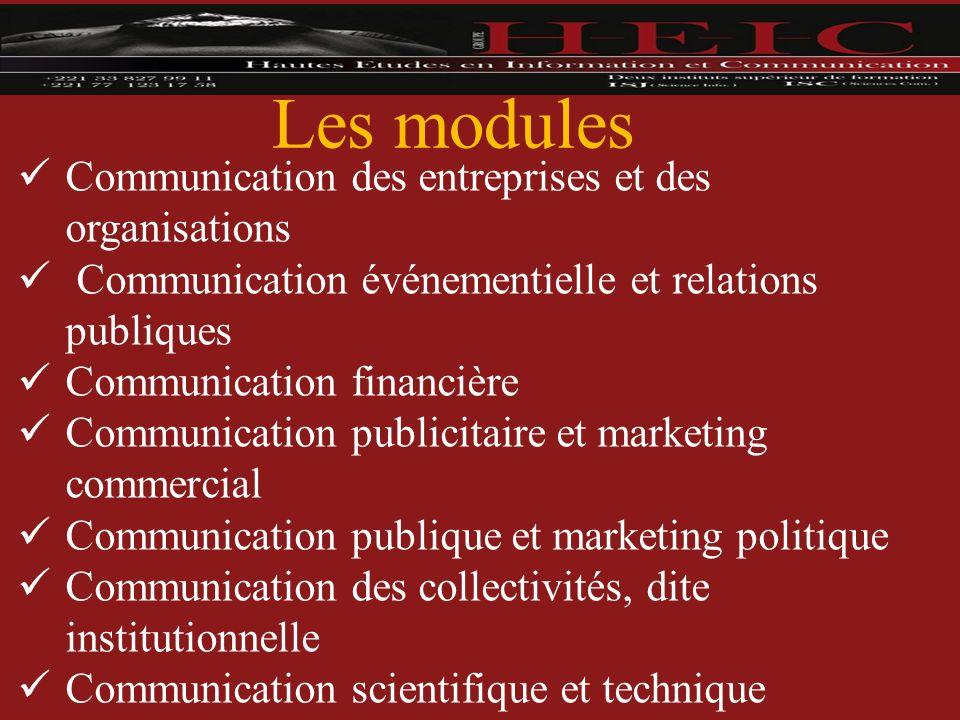 Les modules Communication des entreprises et des organisations