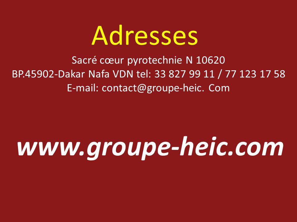 Adresses www.groupe-heic.com Sacré cœur pyrotechnie N 10620