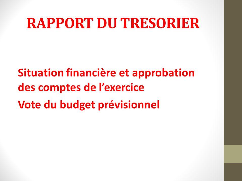 RAPPORT DU TRESORIER Situation financière et approbation des comptes de l'exercice Vote du budget prévisionnel