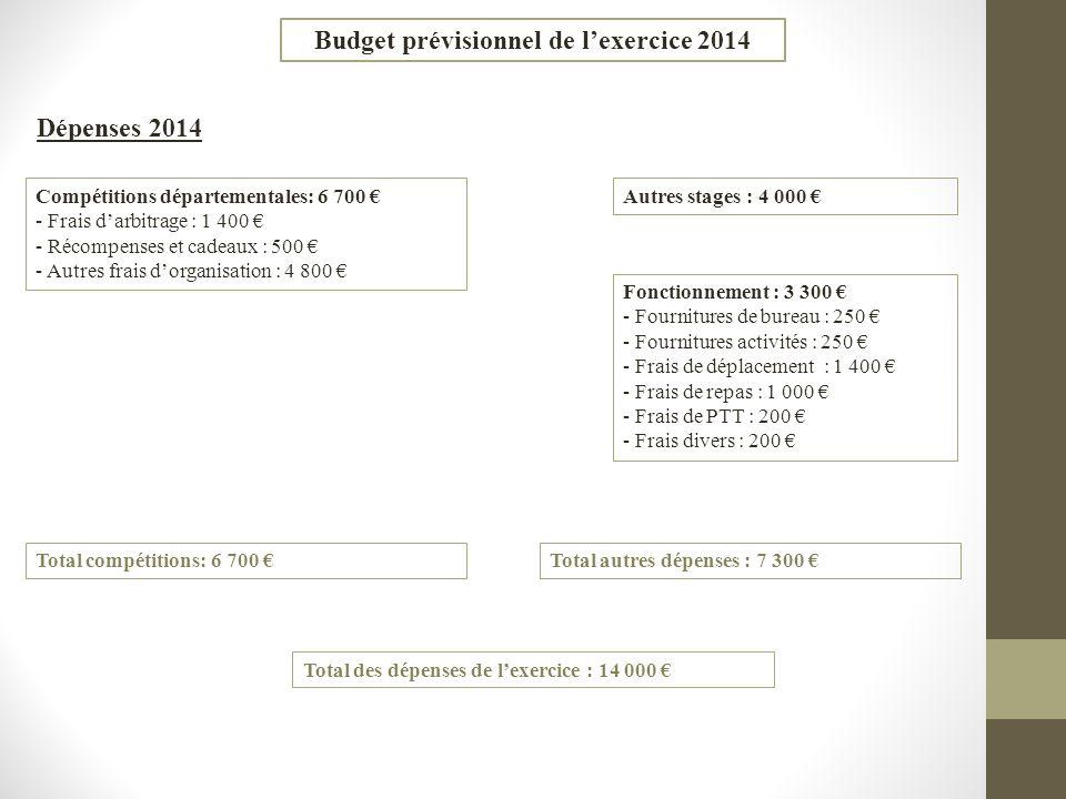 Budget prévisionnel de l'exercice 2014