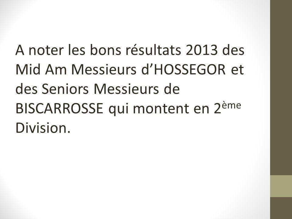 A noter les bons résultats 2013 des Mid Am Messieurs d'HOSSEGOR et des Seniors Messieurs de BISCARROSSE qui montent en 2ème Division.