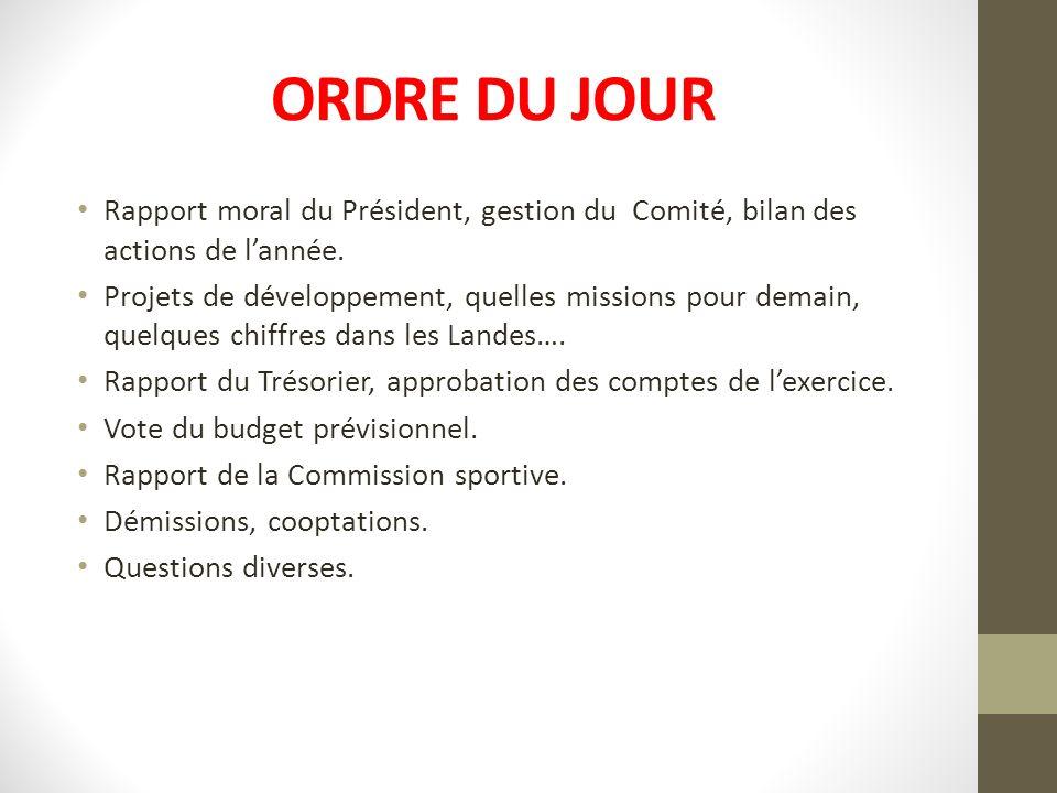 ORDRE DU JOUR Rapport moral du Président, gestion du Comité, bilan des actions de l'année.