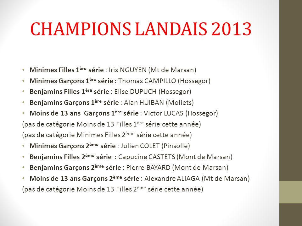 CHAMPIONS LANDAIS 2013 Minimes Filles 1ère série : Iris NGUYEN (Mt de Marsan) Minimes Garçons 1ère série : Thomas CAMPILLO (Hossegor)