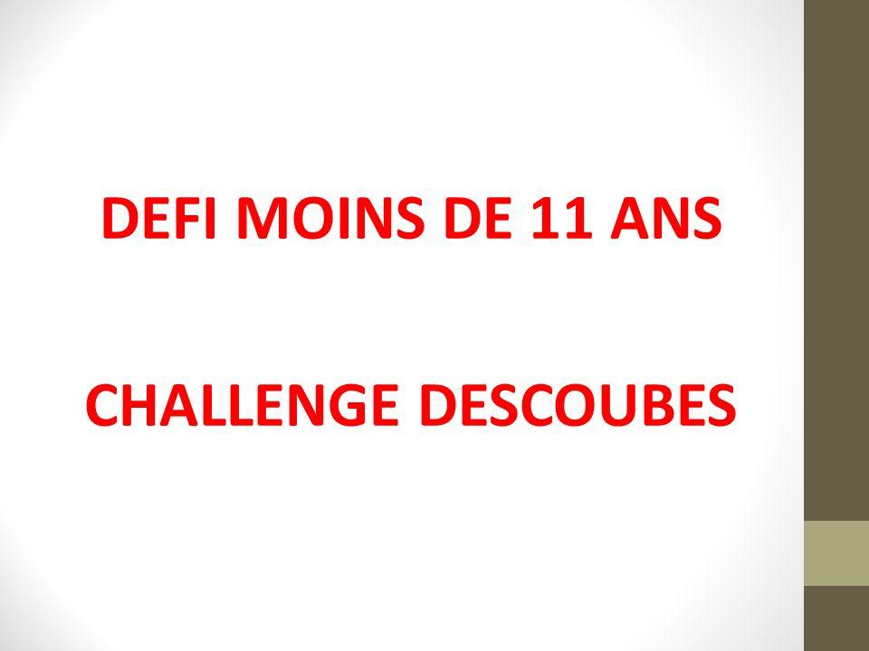 DEFI MOINS DE 11 ANS CHALLENGE DESCOUBES